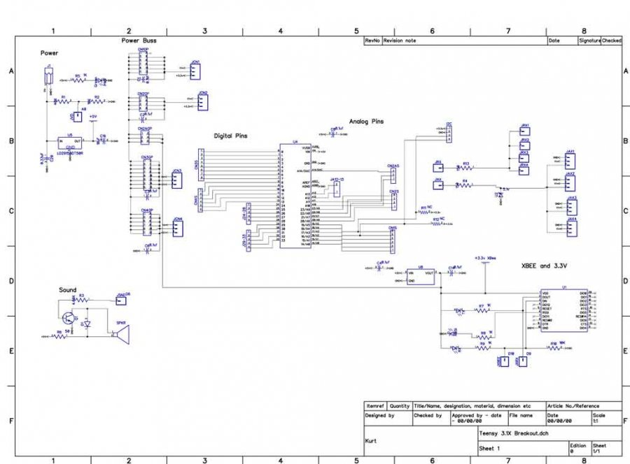 phantomx using a teensy .  page, schematic