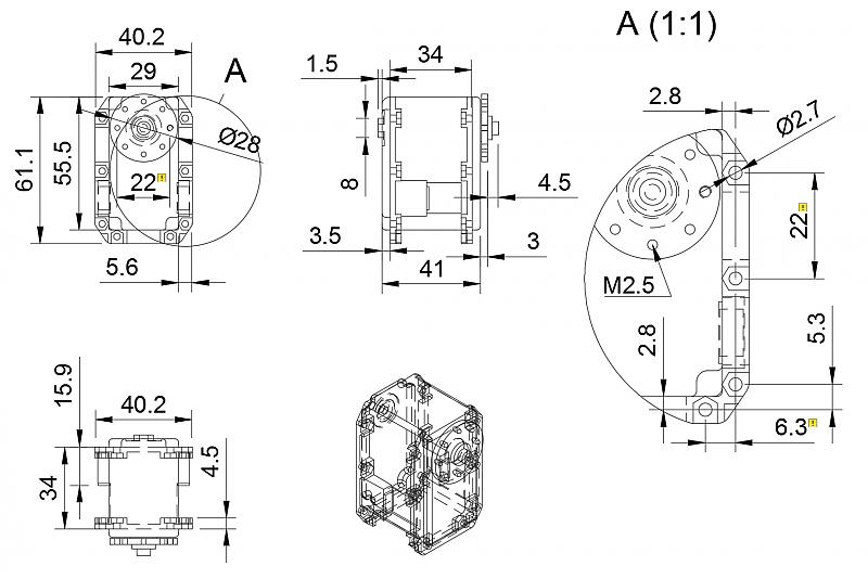 Dimensions of holes and body of MX-64-T Robotis Dynamixel Servo by jwatte in Member Galleries
